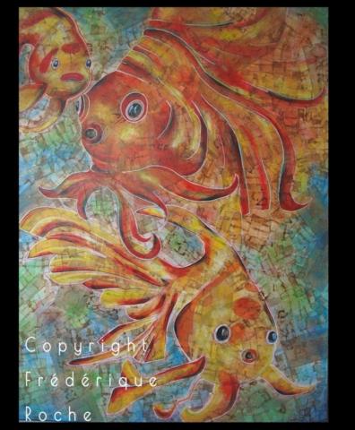 Frédérique Roche tableaux inspiration exposition inspiration dessin artwork fine art carpes koï kintsugi lotus sérénité