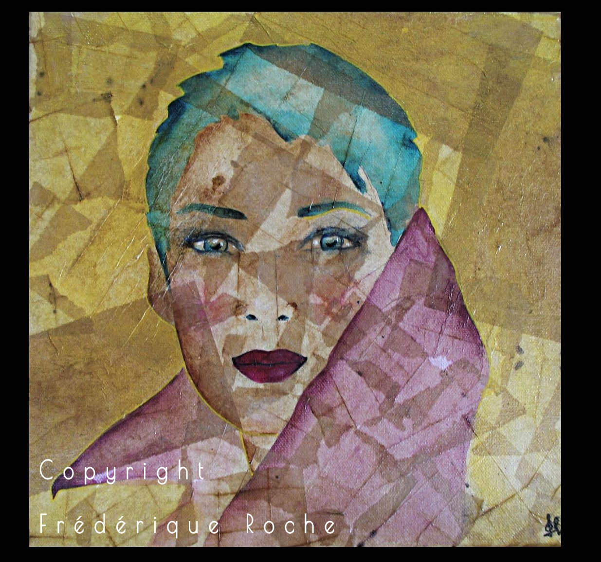 frederique roche tableau serenite kintsugi regard  visage technique mixte collages artwork Une galerie de portrait