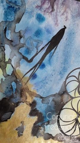 frederique roche tableau exposition démarche artistique fine art artwork carpe koi kintsugi poudre d'or technique mixte encre aquarelle